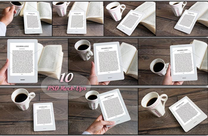 E-Book Reader,10 PSD Mock-Ups,BUNDLE