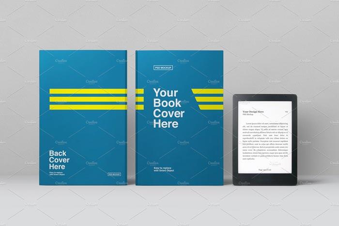 E-Book Reader and Books Mockup