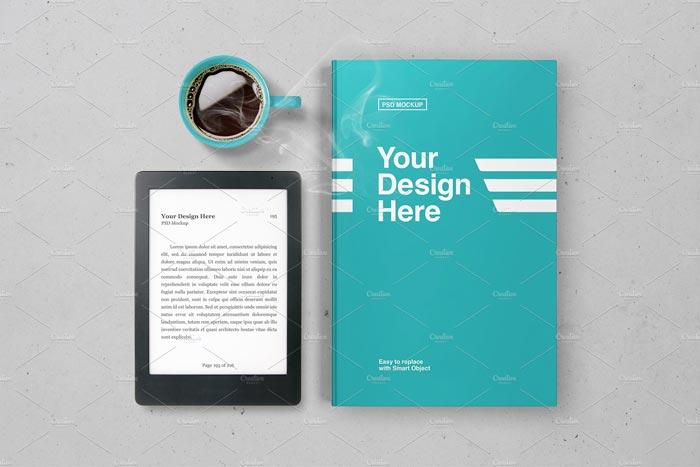 E-book Reader & Book Mockup