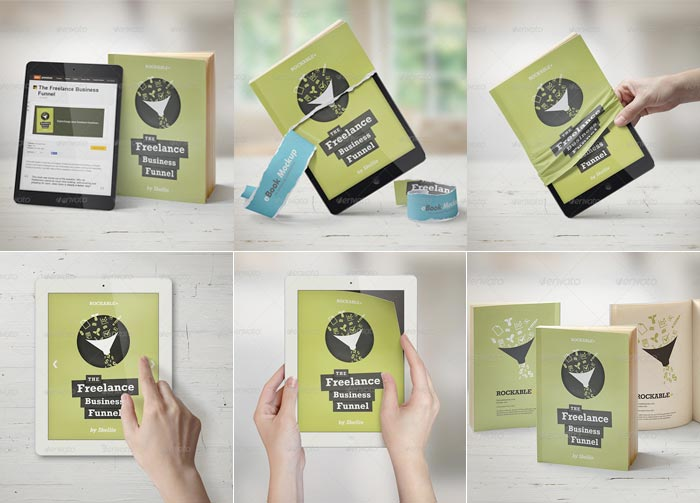 Sets de Plantillas de ebooks mockups en Photoshop