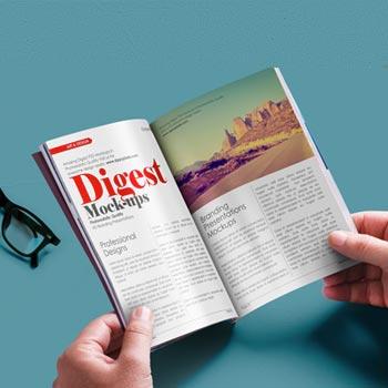 free digest size magazine psd mockup