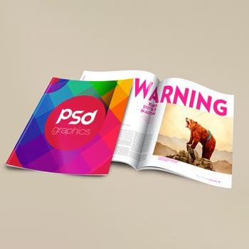 Free Brochure magazine mockups Photoshop