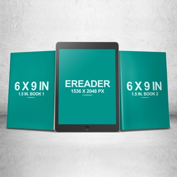 6 x 9 Book Series with eReader PSD Mockup