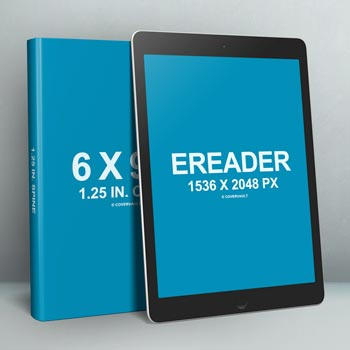 6 X 9 Book with eReader Promo PSD Template